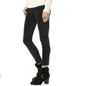 Free People Velvet Polka Dot Skinny Crop Pants
